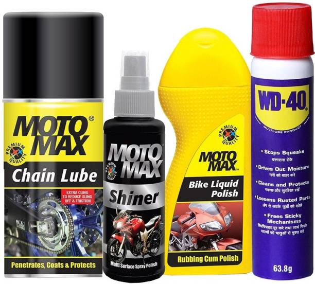 Pidilite Motomax Bike care kit - Multipurpose lubricant spray 64g, Motomax bike polish liquid 100ml, Bike shiner 100ml, Bike Chain lube spray 200ml Combo