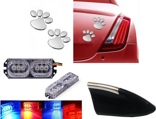 Autofasters 2X 3 LED Flash Strobe Police Emergency Warning Light & Soonai Foot Mark Car Sticker & Show Antenna for All Cars Car Fancy Lights