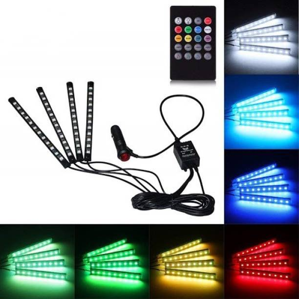 CARZEX Premium New Waterproof Atmosphere Lights Low to High BRIGHTNESS Controller Strip LED 4pcs 48 LED with Sound Active Function and Wireless Remote Control Car Fancy Lights Car Fancy Lights