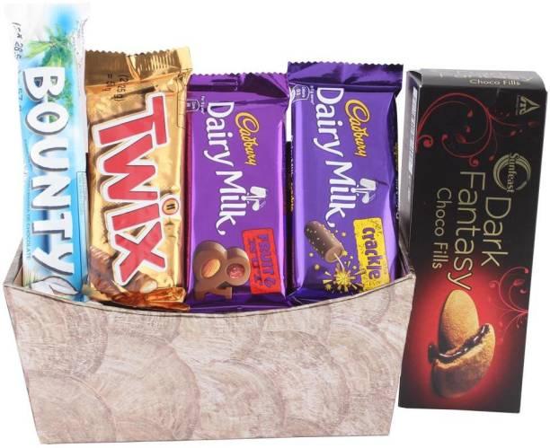 Cadbury Chocolate Gift Hamper To Surprise Your Love | Chocolates With Designer Basket | Chocolate Gift Hamper For Holi, Rakhi, Christmas, Birthday, Anniversary, Diwali Bars