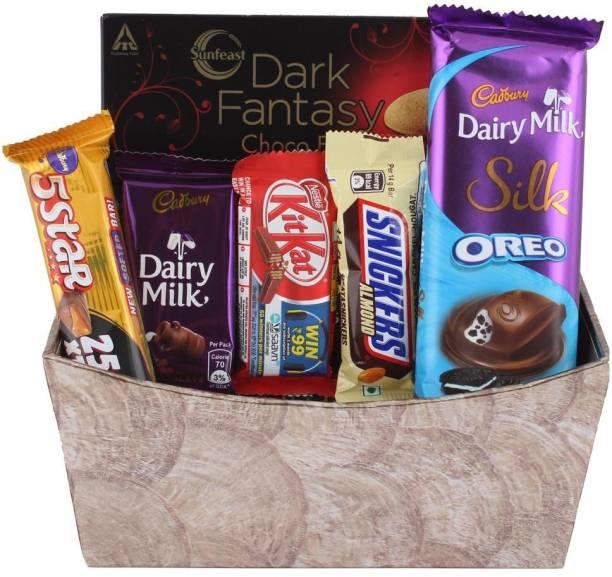 Cadbury Romantic Anniversary Chocolate Gift for Your Loved Ones With Designer Basket | Chocolate Gift Hamper For Diwali, Holi, Rakhi, New Year, Christmas, Birthday Bars