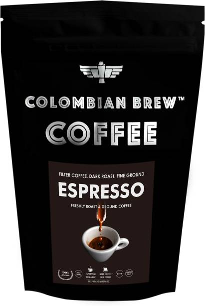Colombian Brew Arabica Espresso Filter Coffee, Roast & Ground Strong, 250g Filter Coffee