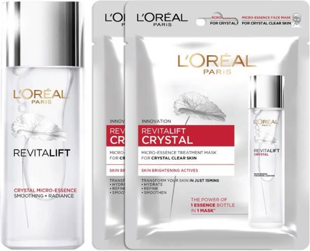 L'Oréal Paris Revitalift Crystal Micro-essence, 65ml + 2 Crystal Sheet Mask 25gm (Pack of 2)