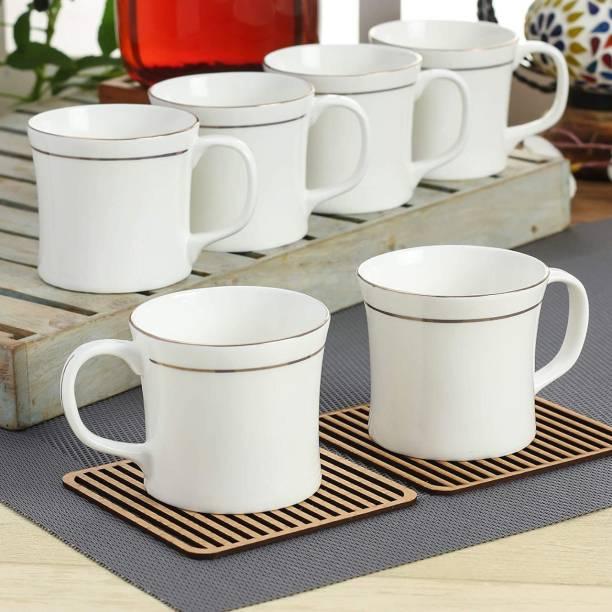 E-Ezra Pack of 6 Bone China Tableware White gold line Mini Tea Coffee Cup for Home Office