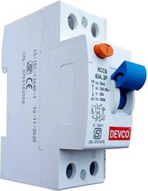 DEVCO 2-Pole-63-Amp (30mA)-RCCB RCC206303 MCB
