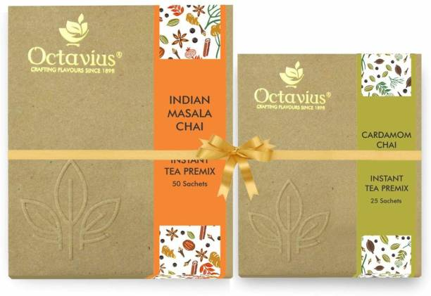 Octavius Indian Masala Ready Tea Perfect For Work, Travel, Home | Economy Pack - 50 Sachets (WITH FREE CARDAMOM CHAI 25 SACHETS) Combo