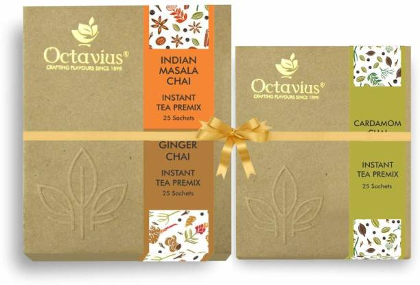 Octavius Indian Masala Ready Tea Perfect For Work, Travel, Home | Economy Pack - 50 Sachets ( WITH CARDAMOM CHAI 25 SACHETS ) Combo