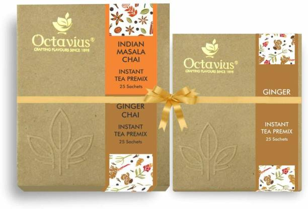 Octavius Indian Masala Ready Tea Perfect For Work ,Travel, Home |Economy Pack - 50 Sachets ( WITH FREE GINGER CHAI 25 SACHETS) Combo