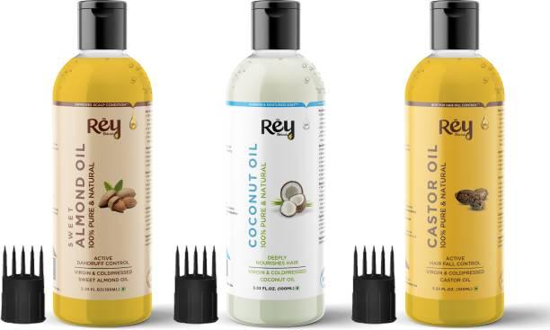 Rey Naturals Cold Pressed Castor Oil, Coconut Oil & Sweet Almond Oil - for hair & skin - 100ml + 100ml + 100ml Hair Oil