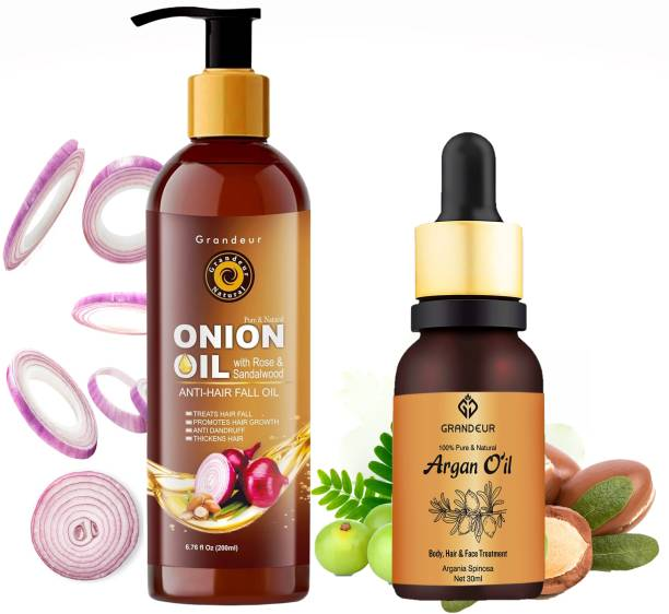 Grandeur Hair Fall Defence Onion Hair Oil For Hair Fall 200ml & 100% Pure And Natural Argan Oil For Hair And Skin Care 30ml - Combo Pack Hair Oil