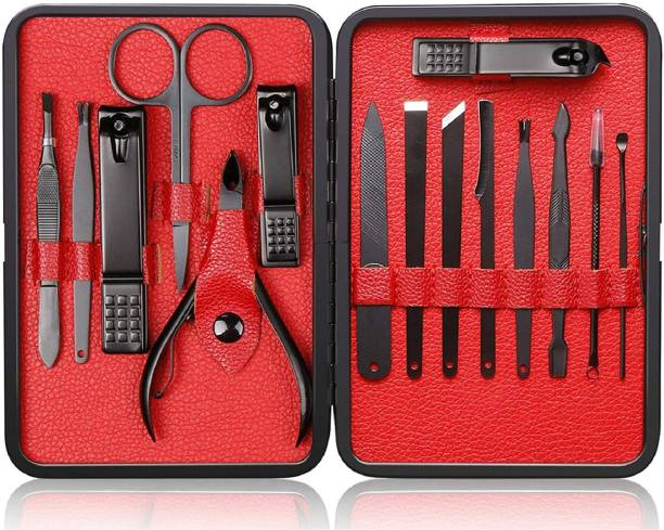 Afflatus Manicure Pedicure Kit Set Nail Cutter Scissors Care Set Tweezers Knife Ear Pick Eyebrow Scissors Utility Tools Grooming Kits with Case Manicure Pedicure Nail Clippers Nail Cutter Tools Set Scissor Grooming Kit with Peeling Knife Nail Cleaning Knife Acne Needle Blackhead remover 15pcs Tool with Travel Case Nail Cutter for Men Manicure Kit Men Grooming Kit Nail Cutter Kit Set Nail Kit Nail Clipper Manicure Pedicure Kit Pedicure Set Grooming Kit Cutter Set Nailcutter