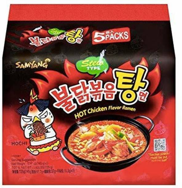 Samyang ew Type Fire Chicken Buldak-145X5 (Pack of 5) (Imported) Instant Noodles Non-vegetarian