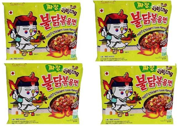 Samyang Hot Chicken Ramen Noodles Jjajang-140 X4 (Pack of 4 ) (Imported) Instant Noodles Non-vegetarian