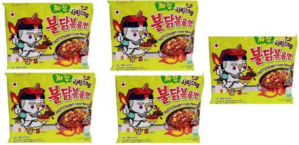 Samyang Hot Chicken Ramen Noodles Jjajang-140 X5 (Pack of 5 ) (Imported) Instant Noodles Non-vegetarian