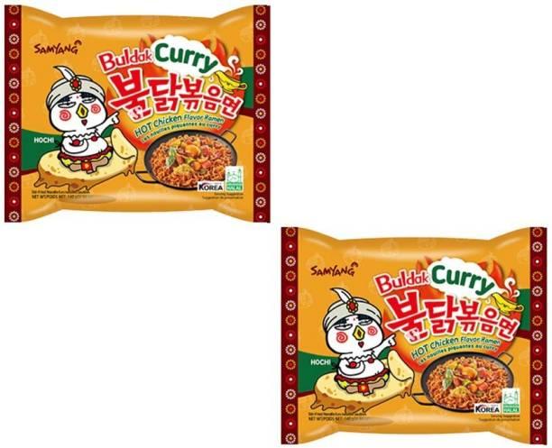 Samyang Hot Chicken Remen Buldak Curry Noodle-140X2 (Pack of 2) (Imported) Instant Noodles Non-vegetarian