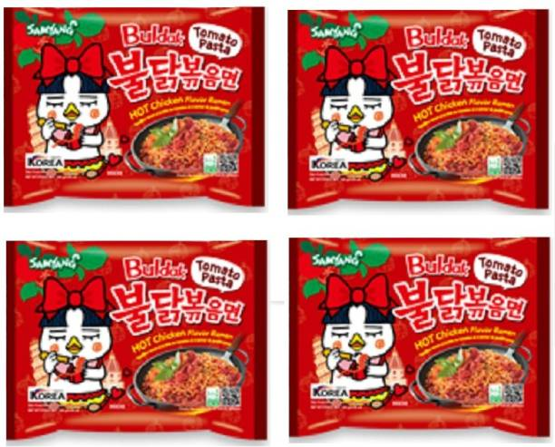 Samyang Tomato Pasta Hot Chiken Flavor 140X4 (Pack of 4) (Imported) Instant Noodles Non-vegetarian