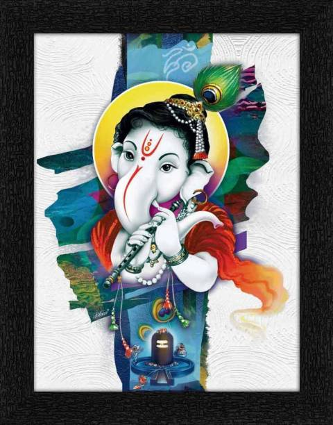 ADS Art Poster Innocent Balganesha Painting with Synthetic Frame Digital Reprint 14 inch x 11 inch Painting