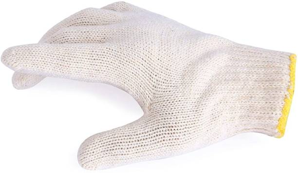 RBGIIT RSWH_ Reusable Washable Knitted Cotton Hand Gloves For Uses In Contruction Fire Safety Kitchen Cutting Vegetable Farmer Indrusty Worker Chemical Aryan Steel Cutting Safe Fingre And Arms Protective Protection Gloves Men Women Season Winter Cold Storage Bundle53 Kevlar  Safety Gloves