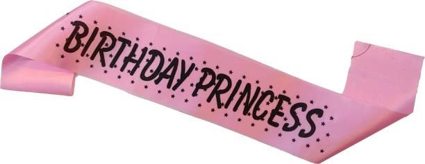 RTB Enterprises Birthday Princess Pink Sash for Girls Birthday Party, Satin Silk Pink Sash for Birthday Princes