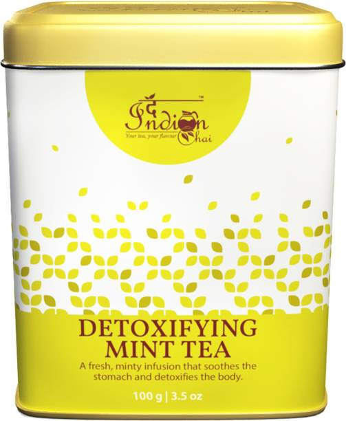 The Indian Chai Detoxifying Mint Tea with Peppermint, Spearmint, Mint etc for Digestion and Detox Unflavoured Herbal Tea Tin