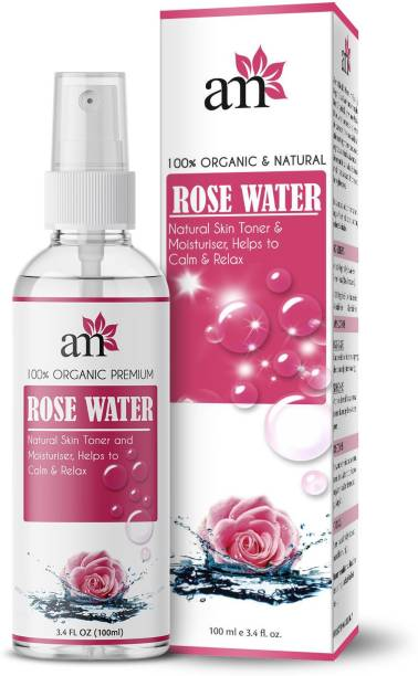 aromamusk 100% Organic & Natural Premium Rose Water For Face & Skin (No Alcohol, Chemical & Paraben Free ) Men & Women