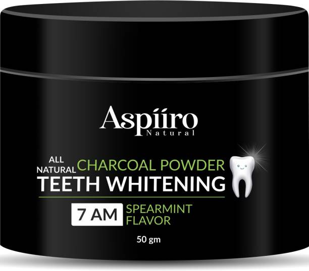 Aspiiro Natural Organic Teeth Whitening Charcoal Powder | For Tobacco Stain, Tartar, Gutkha Stain and Yellow Teeth Removal | No Side Effect