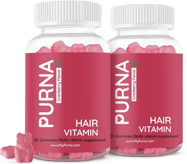 Purna Gummies Flowing Hair Biotin Cranberry Gummy for Adults & Kids, 60 Gummy Bears, 1 daily