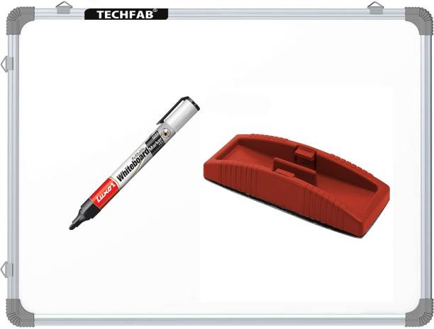 Techfab Non Magnetic Whiteboard 1.5X2 ft. one Side White Marker and Reverse Side Chalk Board Surface with 1 Marker and 1 Duster Whiteboards