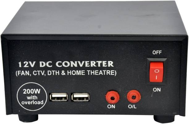 Creative Tech High Power USB 12V DC to AC Converter 200 Watt with Charging Cable Worldwide Adaptor