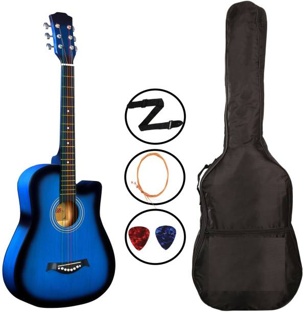 Flipkart SmartBuy 38C Blue Acoustic Guitar Linden Wood Plastic Right Hand Orientation