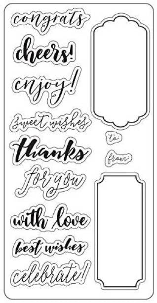 Fiskars Lia Griffith 4x8 Inch Clear Stamps, Gift Tag