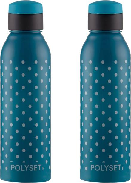 POLYSET by Polyset Plastics Private Limited - India Juno Fliptop 800ml, PET Bottles, Blue, Pack of 2(Polka Dots) 800 ml Bottle