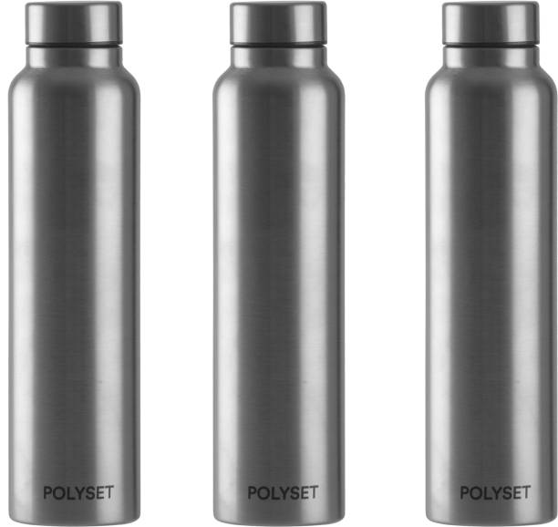 POLYSET by Polyset Plastics Private Limited - India Livo Screw-lid 1000ml, Single Wall Steel Bottle, Silver, Pack of 3 1000 ml Bottle