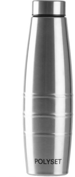 POLYSET Rome Screw-lid 1000ml, Single Wall Steel Bottle, Silver, Pack of 1 1000 ml Bottle