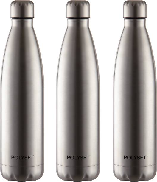 POLYSET by Polyset Plastics Private Limited - India Aqua Screw-lid 1000ml, Single Wall Steel Bottle, Silver, Pack of 3 1000 ml Bottle