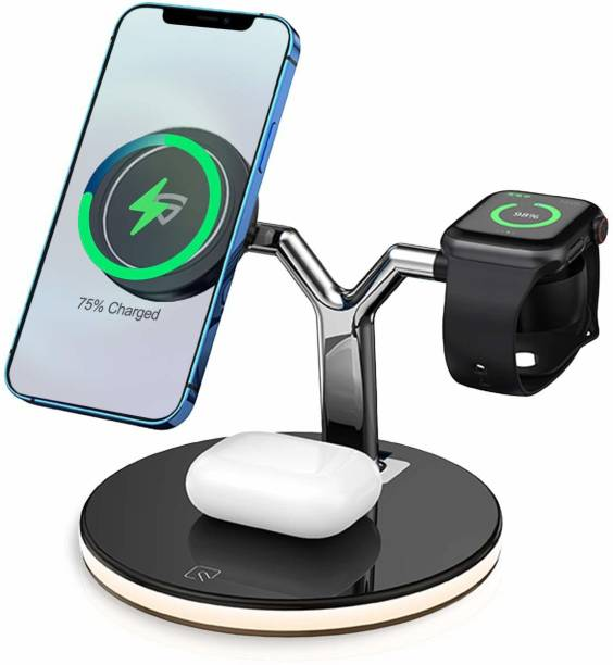 RAEGR RG10213 MagFix Trio Arc M1700 3 in 1 Mag-Safe Compatible Wireless Charging Station for iPhone 12 Series, Apple Watch Series 1/2/3/4/5/6/SE with 2 Bed Light Mode Charging Pad