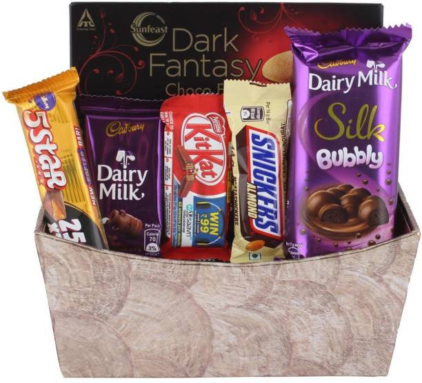 SurpriseForU Surprise New Year Chocolate Gift for Your Loved Ones With Designer Basket | Chocolate Gift Hamper For Holi, Rakhi, Christmas, Birthday, Anniversary Combo