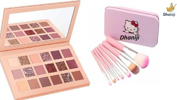 Dhaniji Eyeshadow 18 Colours NUDE EDITION Palette 18 g (Multicolour) with a set of 7 makeup brush with storage box