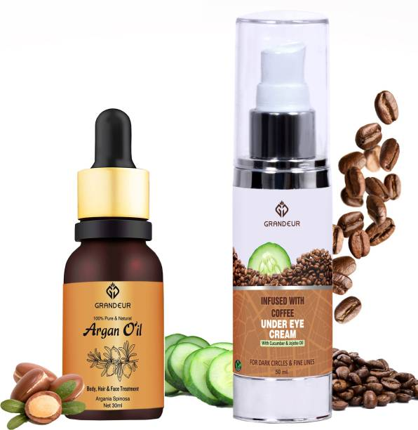 Grandeur 100% Pure & Natural Argan Oil For Hair And Skin-30ml AND 50ml Bye Bye Dark Circles Coffee Under Eye Cream For Dark Circles & Puffy Eyes With Goodness Of Coffee & Cucumber- Combo Pack
