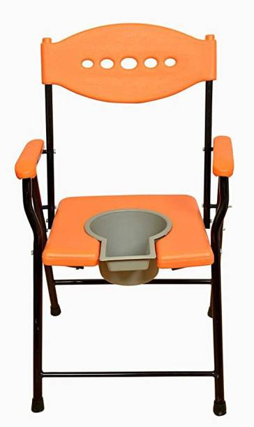 RADIANT TRADERS Commode For Adults With Pot (Orange) Commode Shower Chair