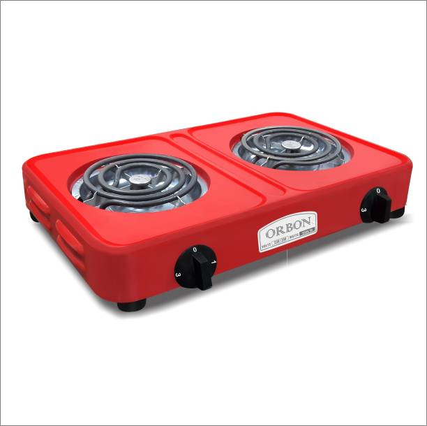 Orbon Double Heavy Duty Powder Coated 1000 Watt + 1000 Watts Electric Coil Cooking Stove | Electric Cooking Heater | Induction Cooktop | G Coil Hot Plate Stove | Works With All Cookwares (Red) Electric Cooking Heater