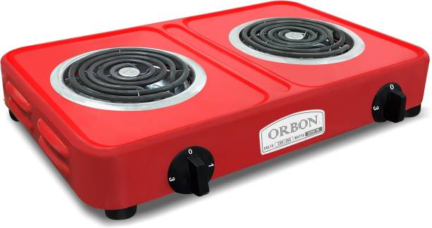 Orbon Double Heavy Duty Powder Coated 1250 Watt + 2000 Watts Electric Coil Cooking Stove | Electric Cooking Heater | Induction Cooktop | G Coil Hot Plate Stove | Works With All Cookwares (Red) Electric Cooking Heater