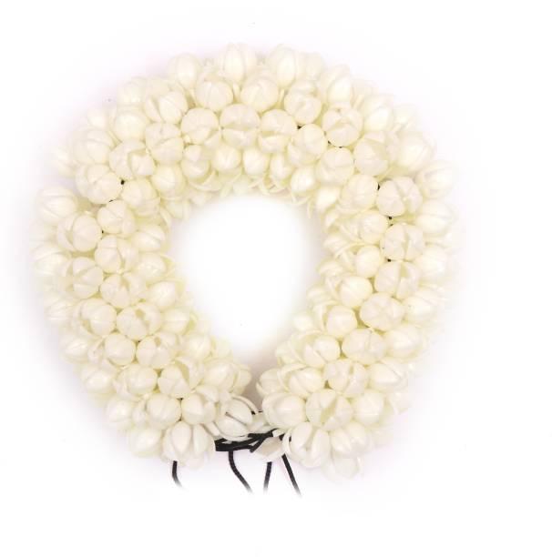 Honbon Hair Gajra in Artificial Mogra Flower White Colour for Womens and Girls 9 Inch Hair Accessory Set