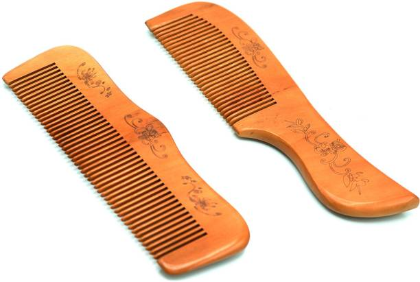 Naayaab Craft Handmade & Carved Design Sandal Wood Broad Tooth Anti-Dandruff Comb Set of 2 For Hair Styling & Beard Styling For Men and Women
