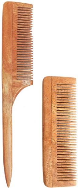 Tora Creations Neem Wood Tail Comb & Pocket Comb for Beard [ Thin Bristle | Handmade ]