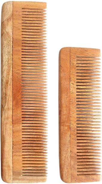 Tora Creations Neem Wood Thin Tooth Pocket & Regular Size Comb [ Handmade | Eco-Friendly ]