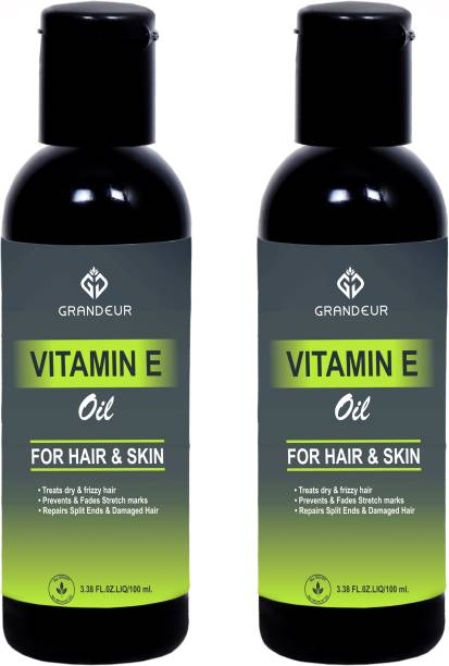 Grandeur (PACK OF 2) Vitamin E Oil with blend of Canola Oil, Meadow Foam Seed Oil, Moringa Oil for Dry, Rough And Fizzy Hair And Glowing Skin Hair Oil