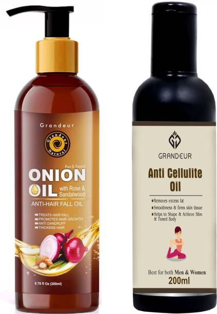 Grandeur Hair Fall Defence Onion Hair Oil For Hair Fall -200ml AND Anti Cellulite Skin Toning Fat Burning Oil, Slimming Oil 200ml - Combo Pack, Hair Oil