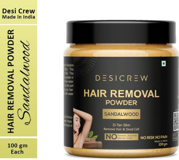 Desi Crew 100 % Pure Hair Removal Powder (Sandalwood Fragrance) For Underarms, Hand, Legs & Bikini Line Three in one Use For D-Tan Skin, Removing Hair, Remove Dead cell (For Easy Hair Removal No Risk No Pain) Men & Women 100 gm Cream