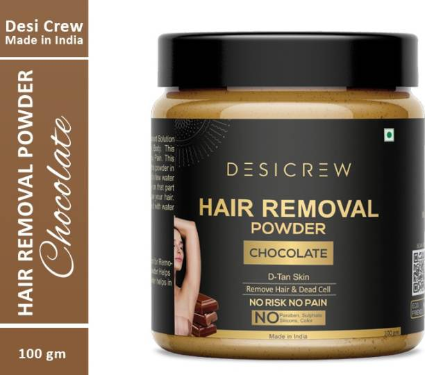 Desi Crew 100 % Pure Hair Removal Powder (Chocolate Fragrance ) For Underarms, Hand, Legs & Bikini Line Three in one Use For D-Tan Skin, Removing Hair, Remove Dead cell (For Easy Hair Removal No Risk No Pain) Men & Women 100 gm Cream